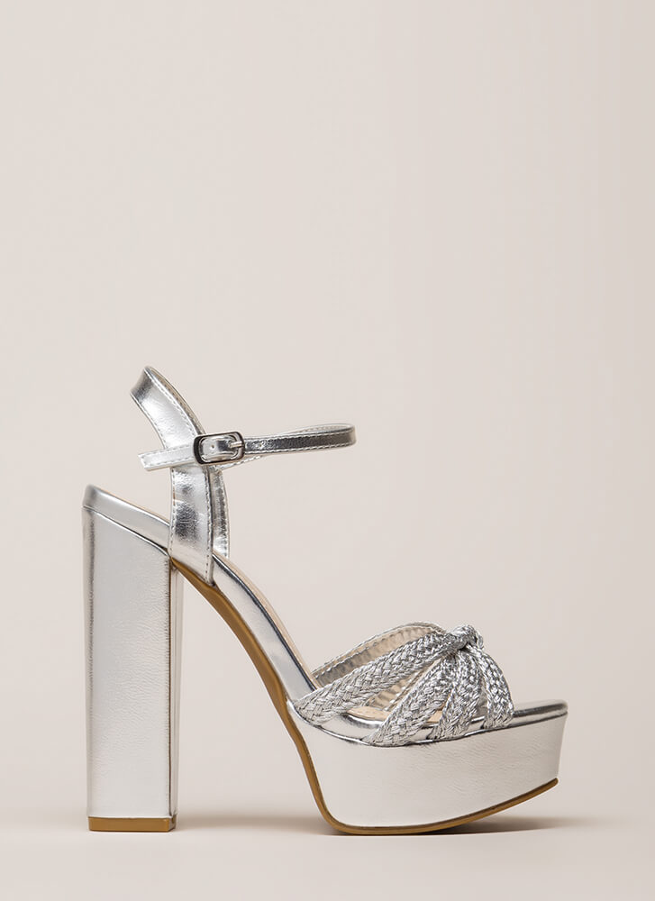 High Standing Chunky Braided Platforms SILVER