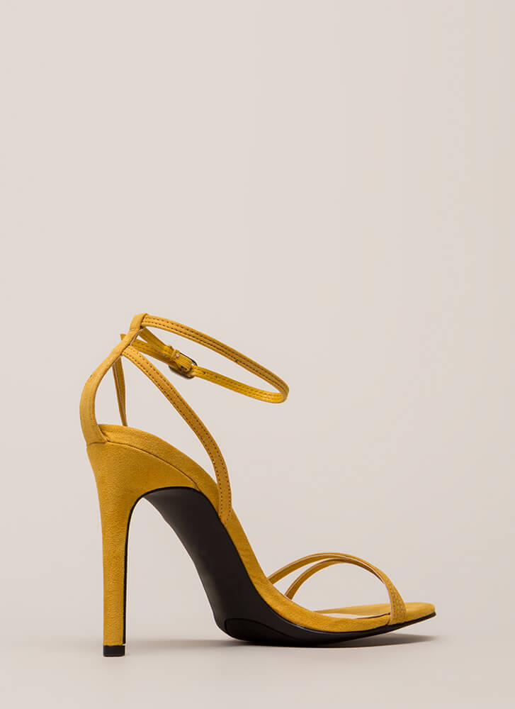 Timeless Faux Suede Skinny Strap Heels MARIGOLD (You Saved $16)