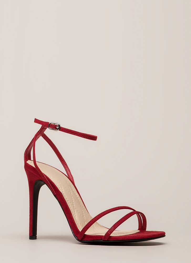 Timeless Faux Suede Skinny Strap Heels RED