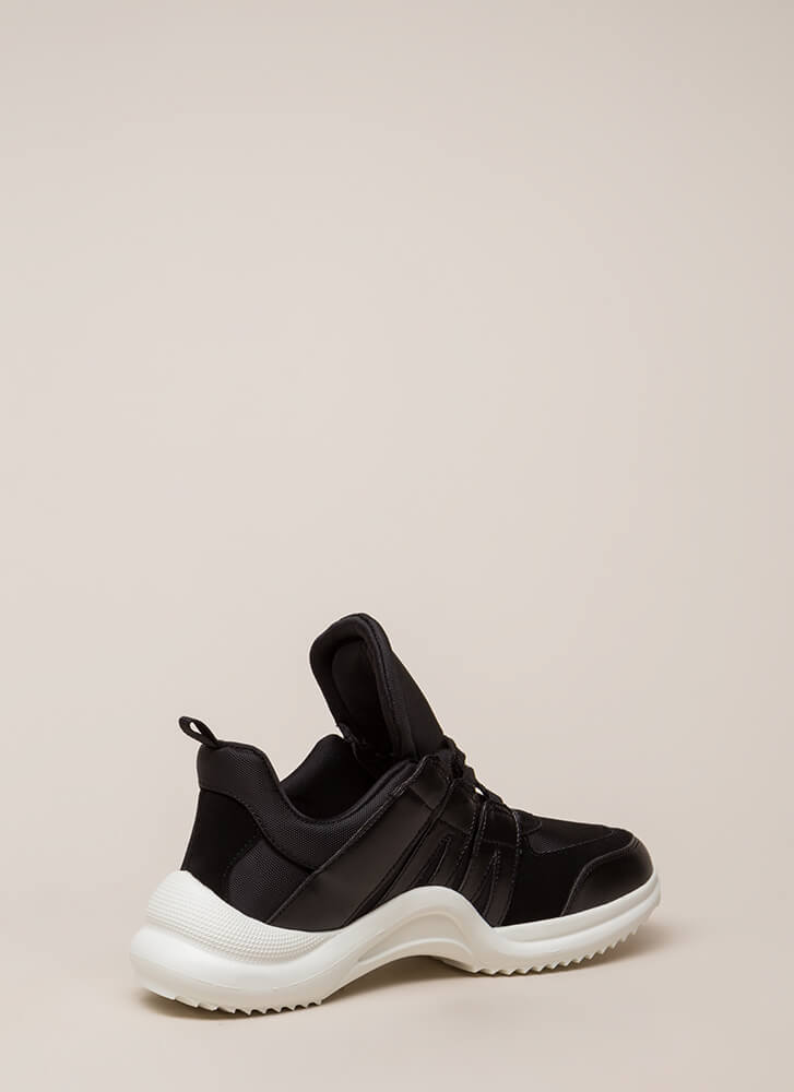 Tongue In Chic Paneled Sneakers BLACKMULTI