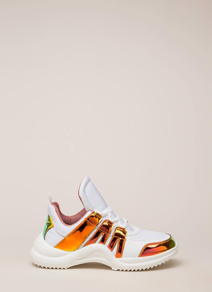 Tongue In Chic Paneled Sneakers WHITEMULTI