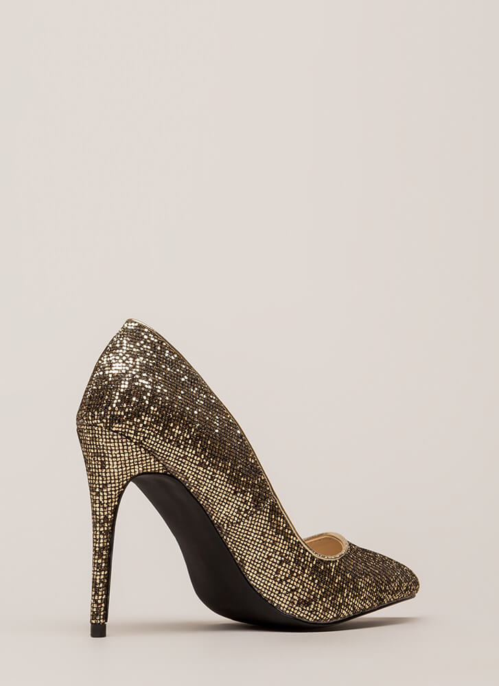 At The Disco Ball Pointy Glittery Pumps GOLD