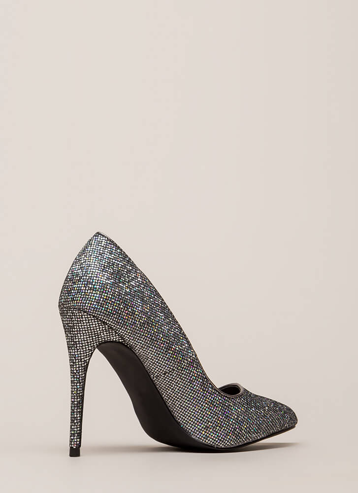At The Disco Ball Pointy Glittery Pumps SILVER