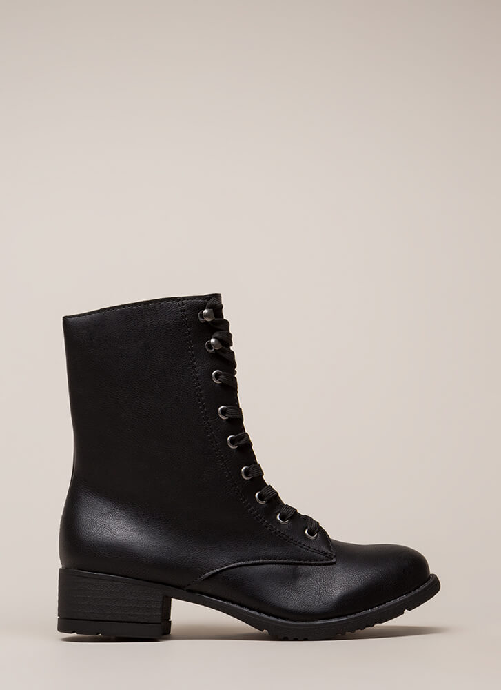 Fired Up Faux Leather Combat Boots BLACK