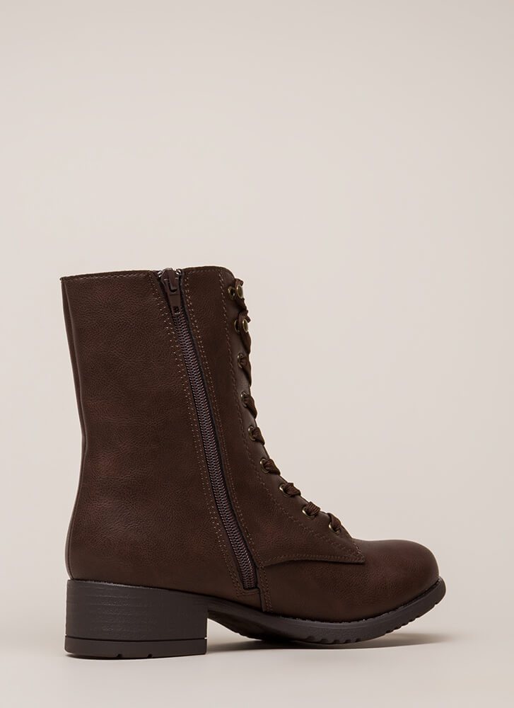 Fired Up Faux Leather Combat Boots BROWN
