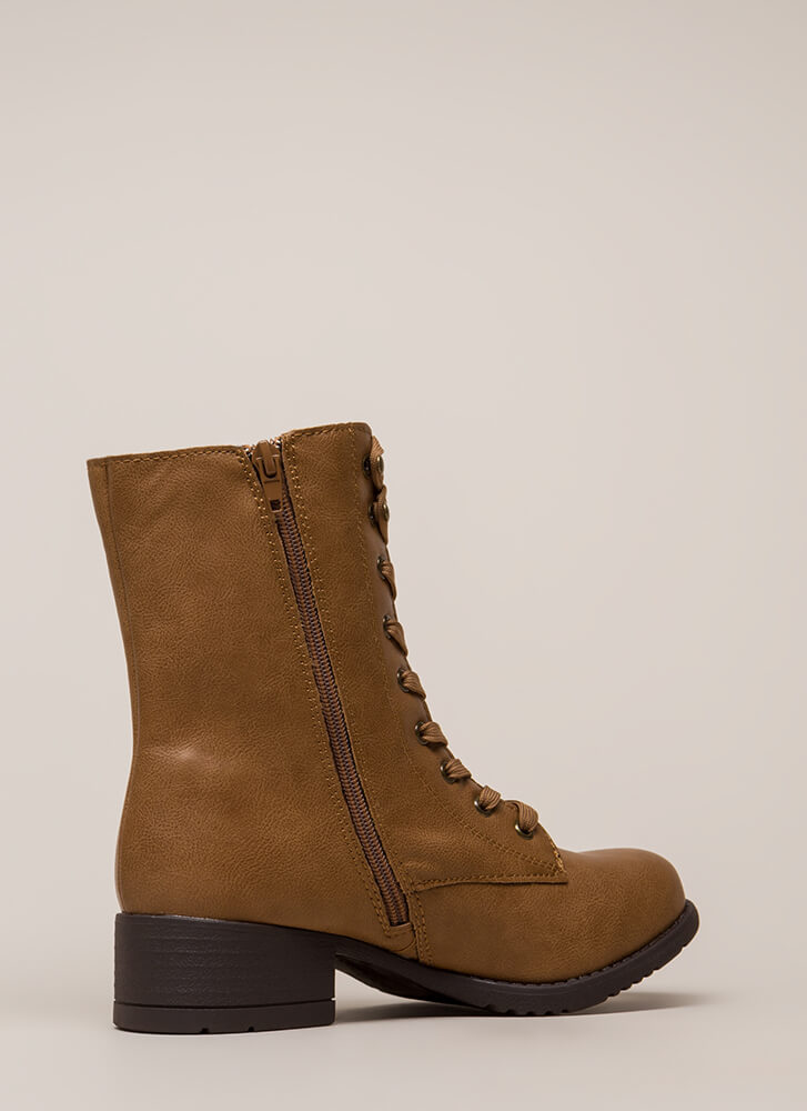 Fired Up Faux Leather Combat Boots TAN