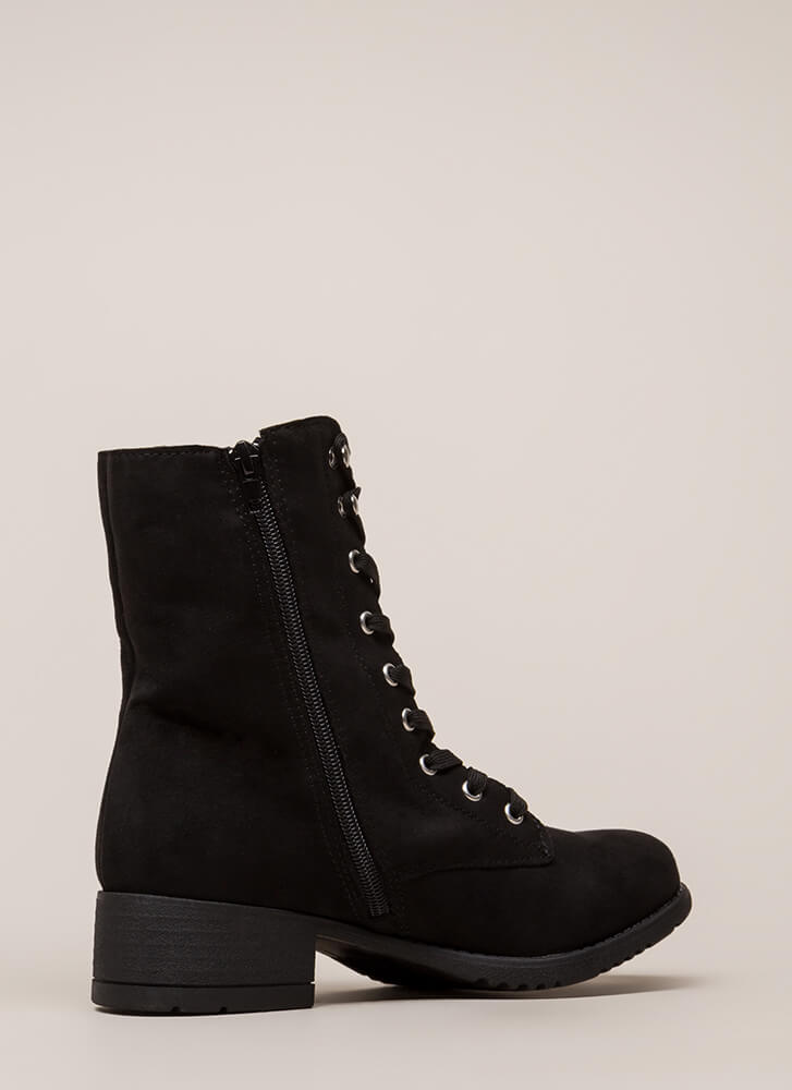 Fired Up Faux Suede Combat Boots BLACK