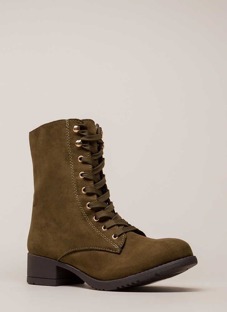 Fired Up Faux Suede Combat Boots OLIVE