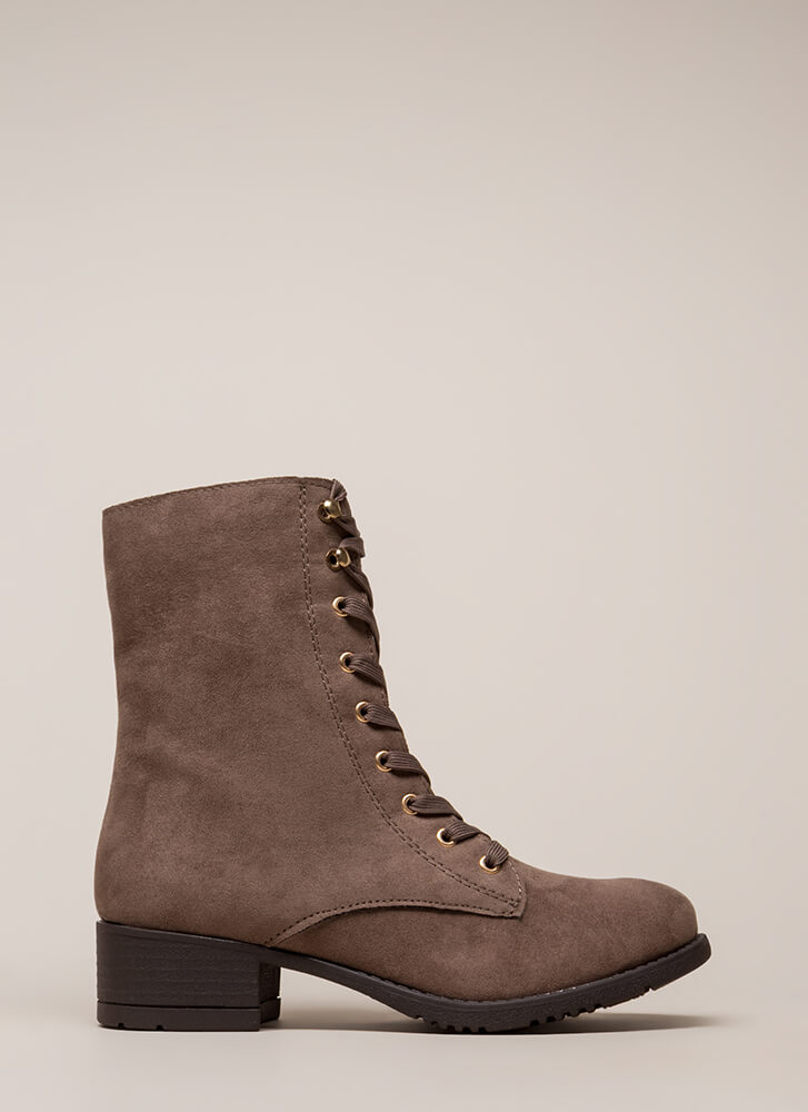 Fired Up Faux Suede Combat Boots TAUPE