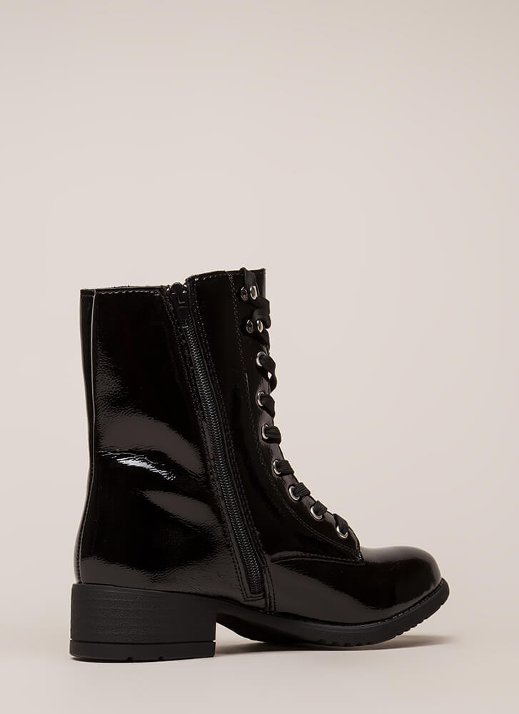 Fired Up Faux Patent Combat Boots BLACK