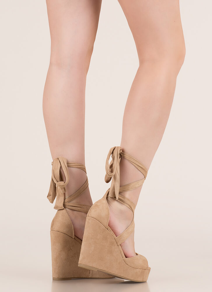 Tied With Ribbon Lace-Up Wedges TAUPE