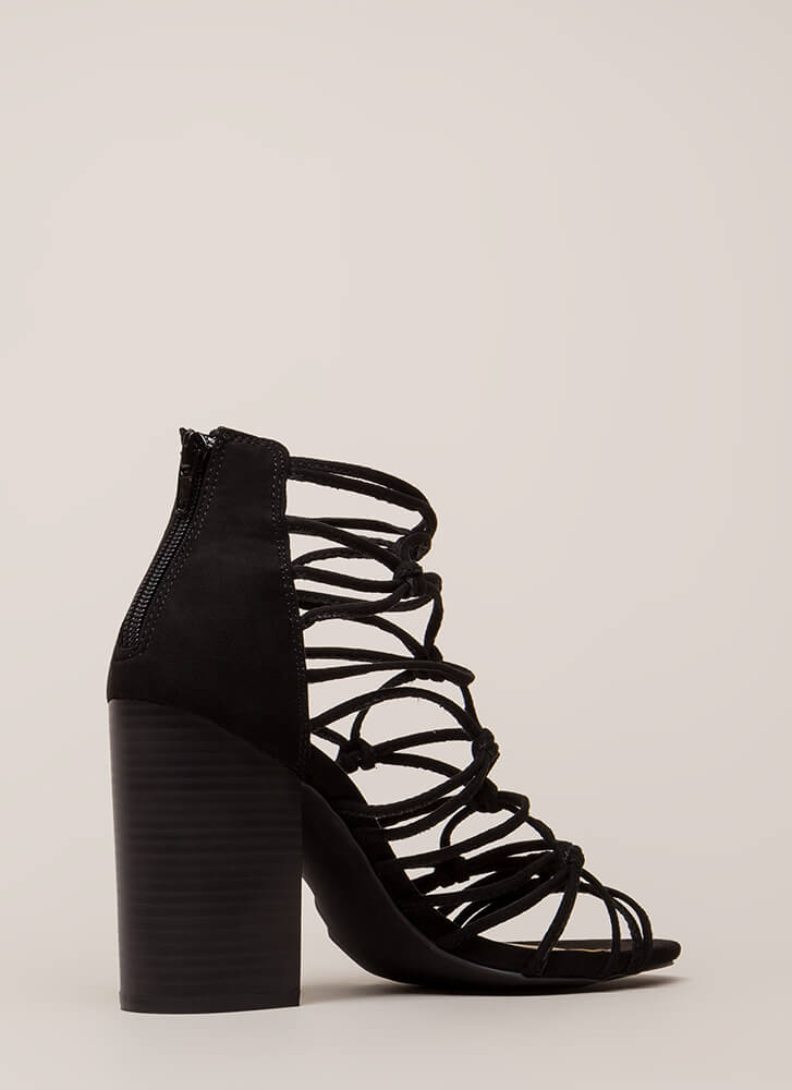 Knotted In Agreement Chunky Caged Heels BLACK