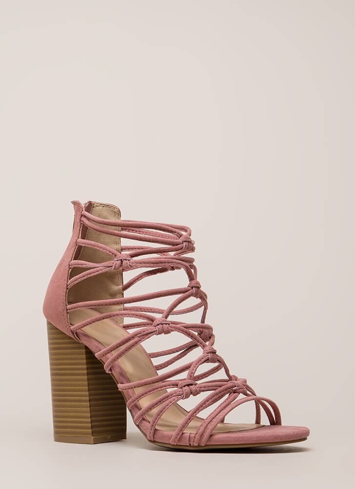 Knotted In Agreement Chunky Caged Heels DUSTYPINK