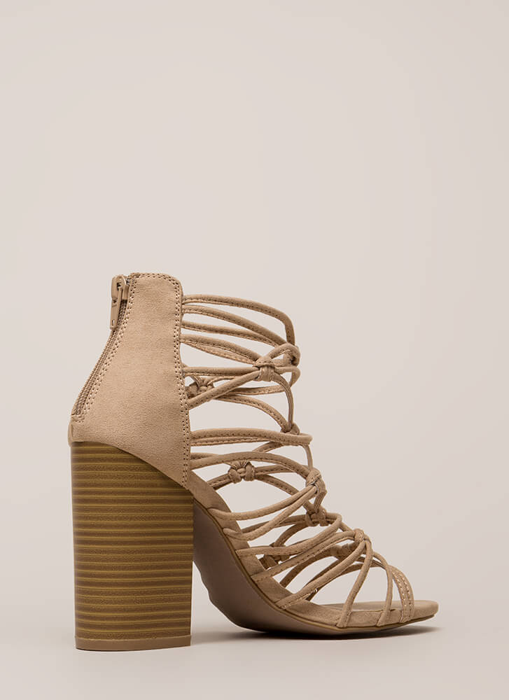 Knotted In Agreement Chunky Caged Heels NATURAL