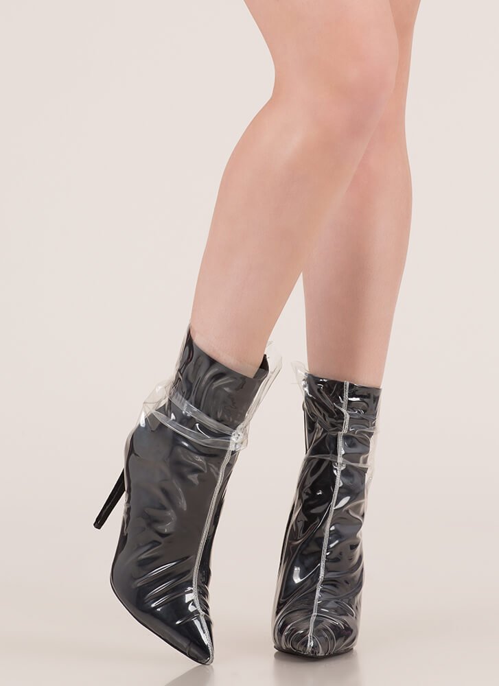 Think Clearly Pointy Wrapped Booties BLACK