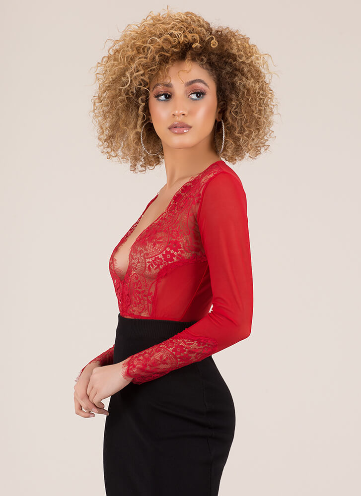 More Lace Please Mesh Thong Bodysuit RED