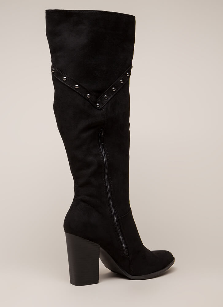 Stud Showcase Chunky Knee-High Boots BLACK (You Saved $27)