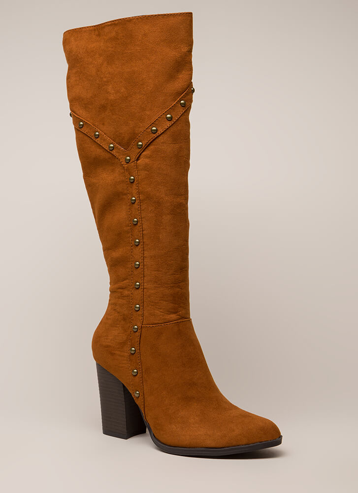 fe51bde440dd Stud Showcase Chunky Knee-High Boots CHESTNUT TAUPE BLACK - GoJane.com