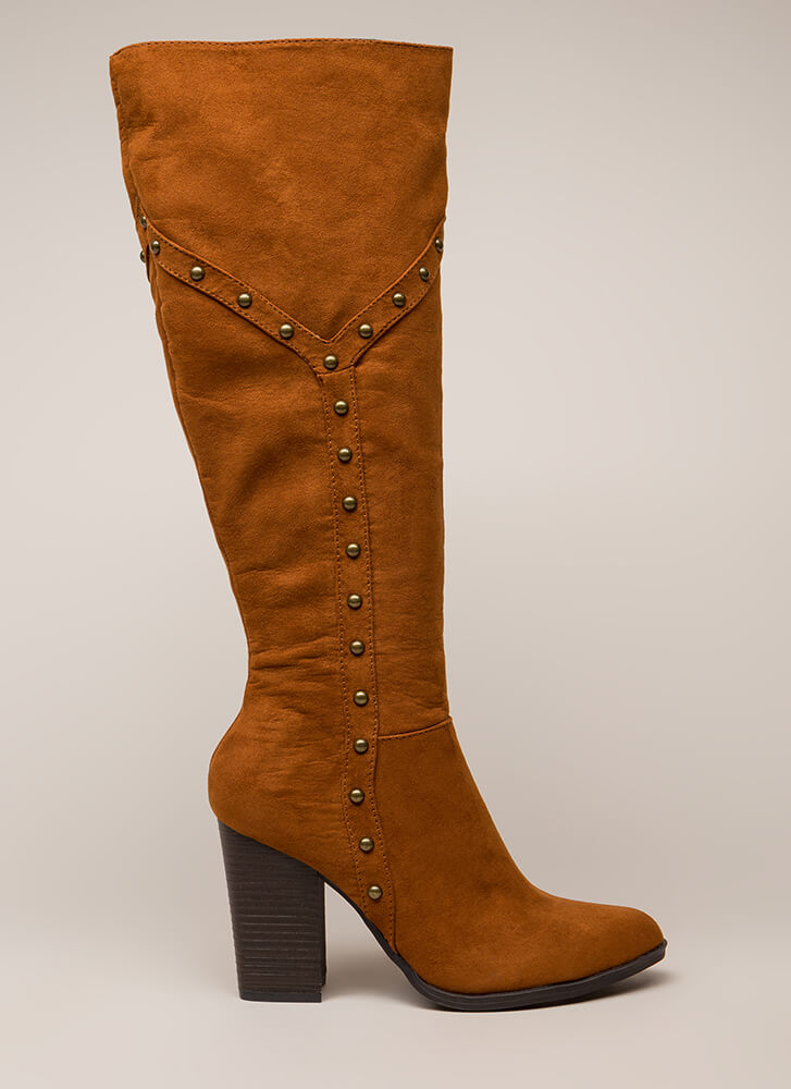 Stud Showcase Chunky Knee-High Boots CHESTNUT (You Saved $27)