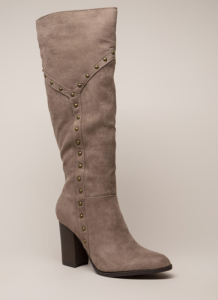Stud Showcase Chunky Knee-High Boots TAUPE (You Saved $27)