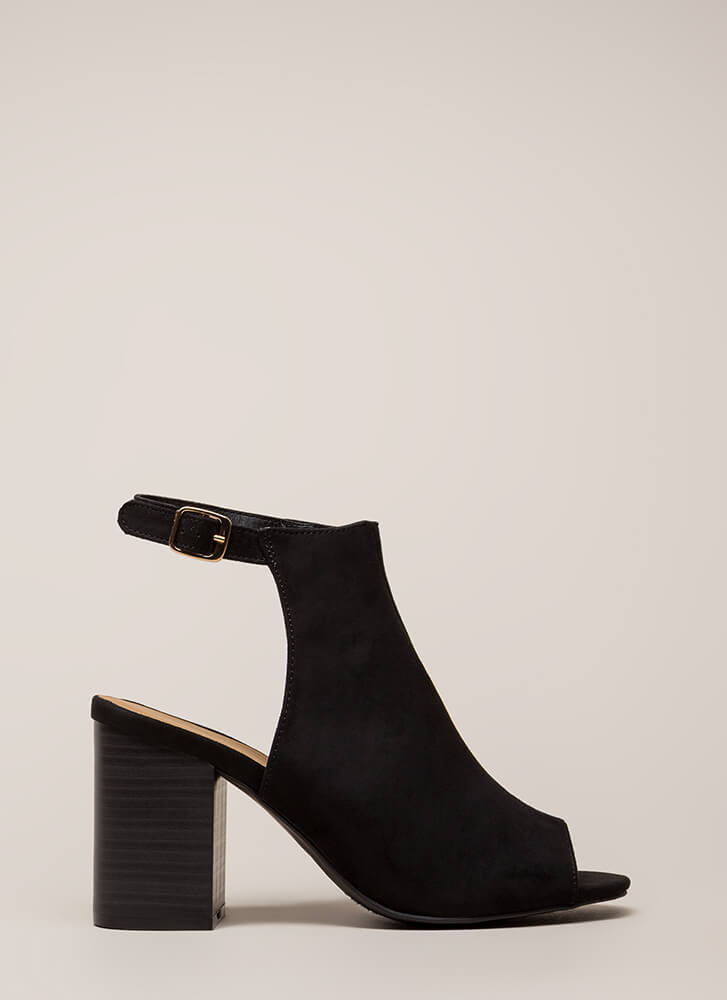 Shoe Craving Faux Suede Peep-Toe Heels BLACK