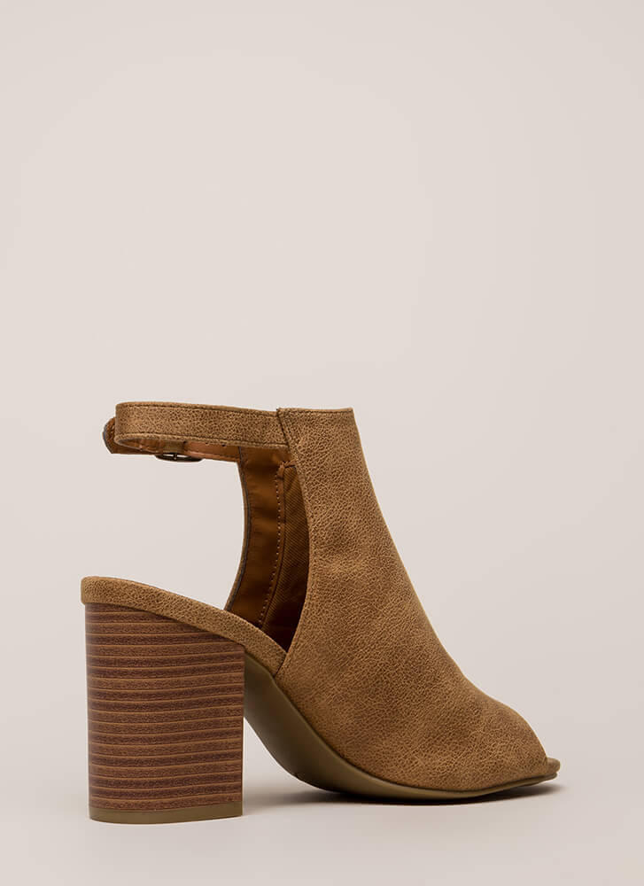 Shoe Craving Faux Leather Peep-Toe Heels TAN
