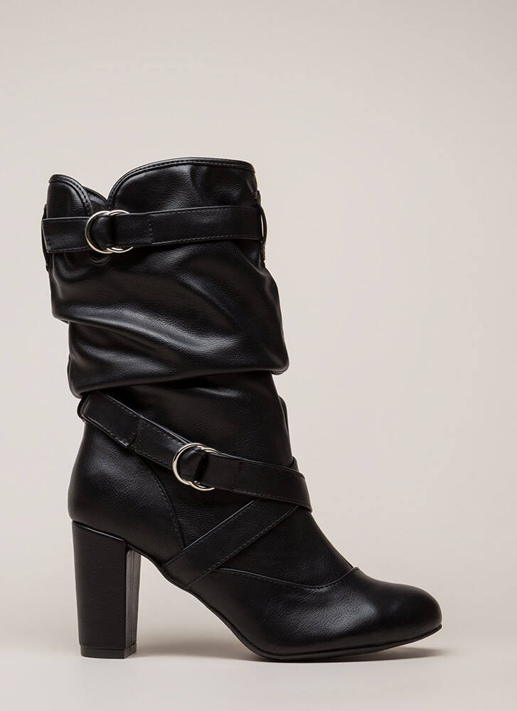 Strappy And Slouchy Faux Leather Boots BLACK