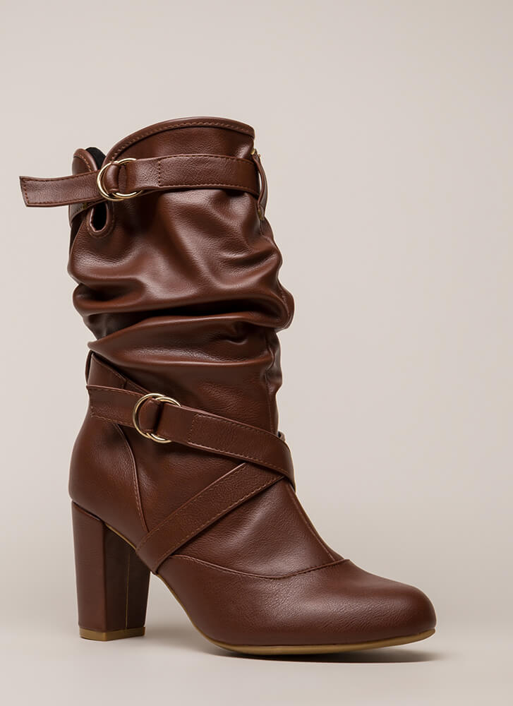 Strappy And Slouchy Faux Leather Boots CHESTNUT