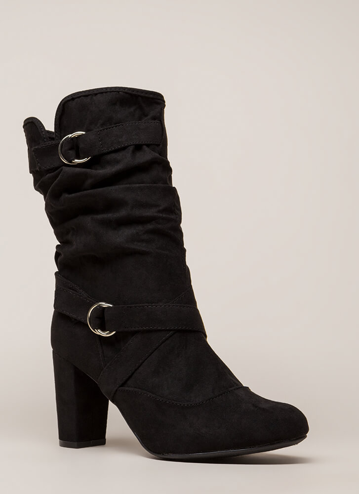 Strappy And Slouchy Faux Suede Boots BLACK