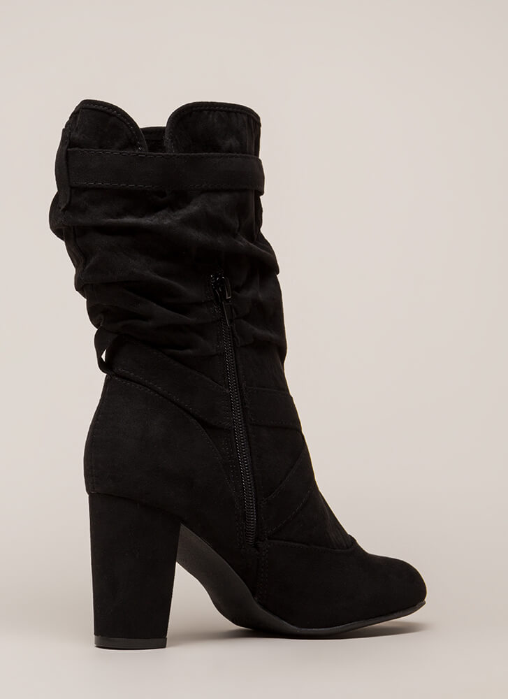 Strappy And Slouchy Faux Suede Boots BLACK (You Saved $33)
