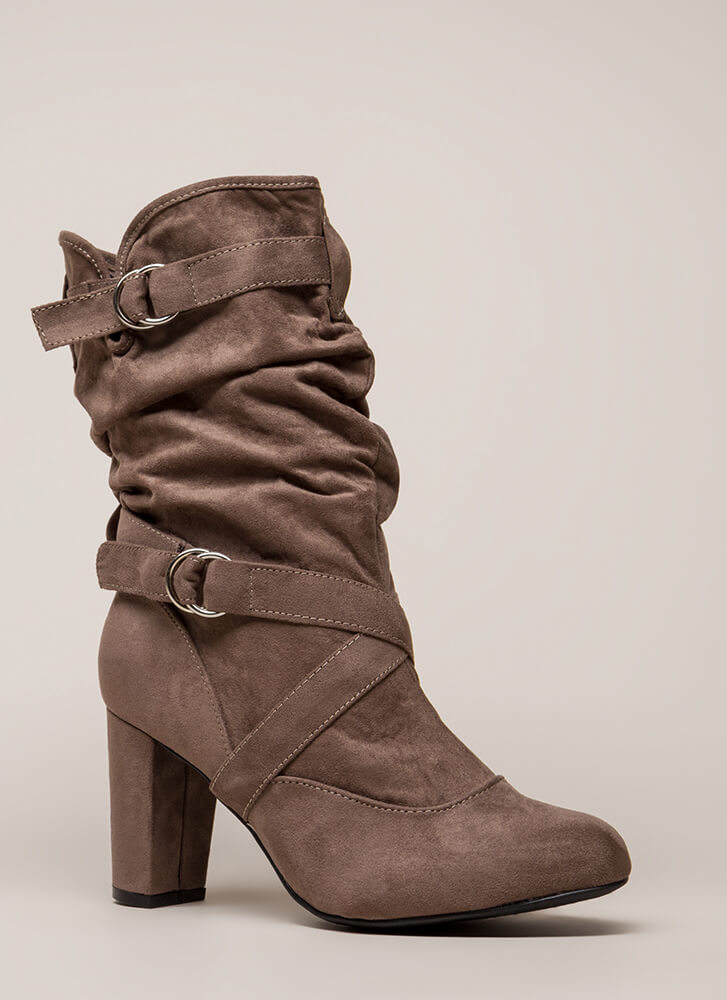 Strappy And Slouchy Faux Suede Boots TAUPE (You Saved $33)