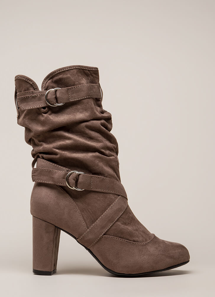 Strappy And Slouchy Faux Suede Boots TAUPE