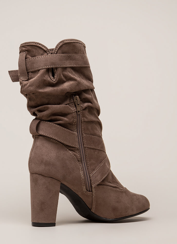 3bce6fb3961c4 Strappy And Slouchy Faux Suede Boots BLACK TAUPE - GoJane.com