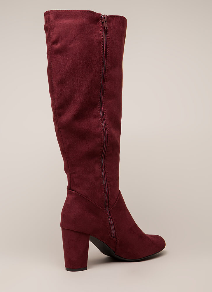 A Star Is Born Chunky Knee-High Boots BURGUNDY