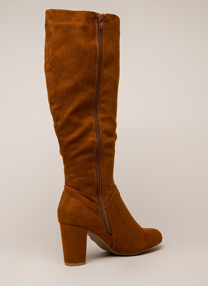 A Star Is Born Chunky Knee-High Boots CHESTNUT