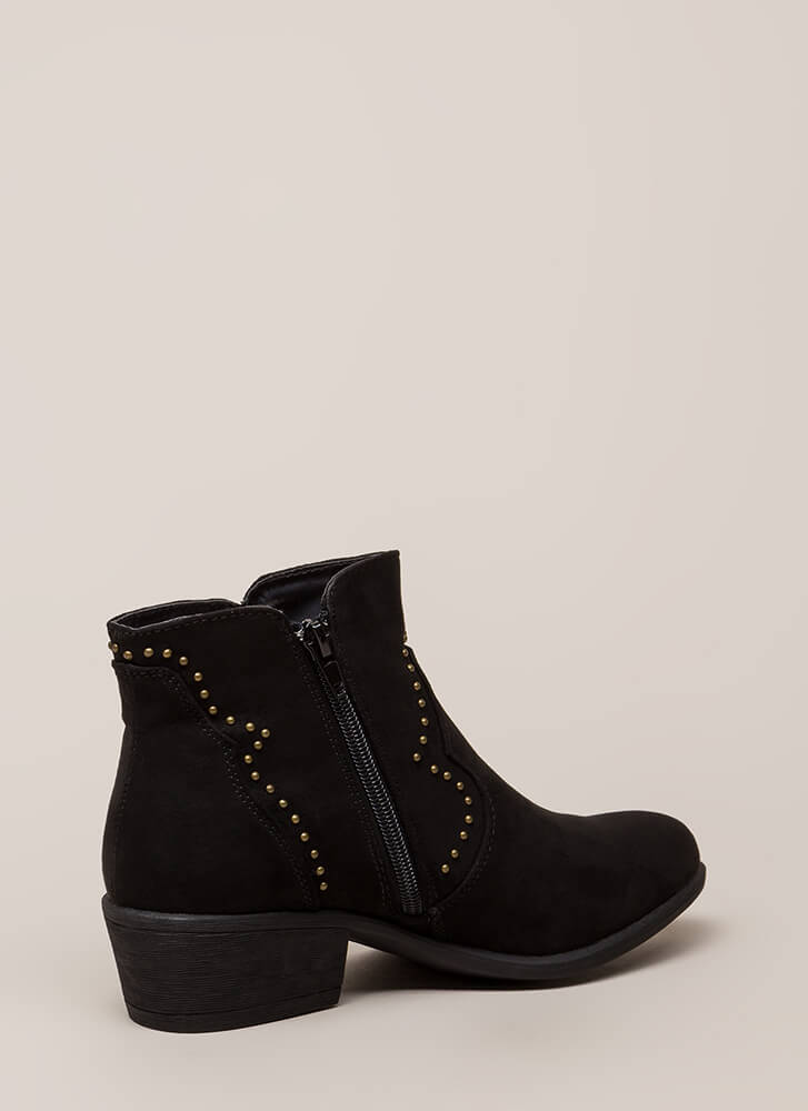 How The West Was Worn Studded Booties BLACK