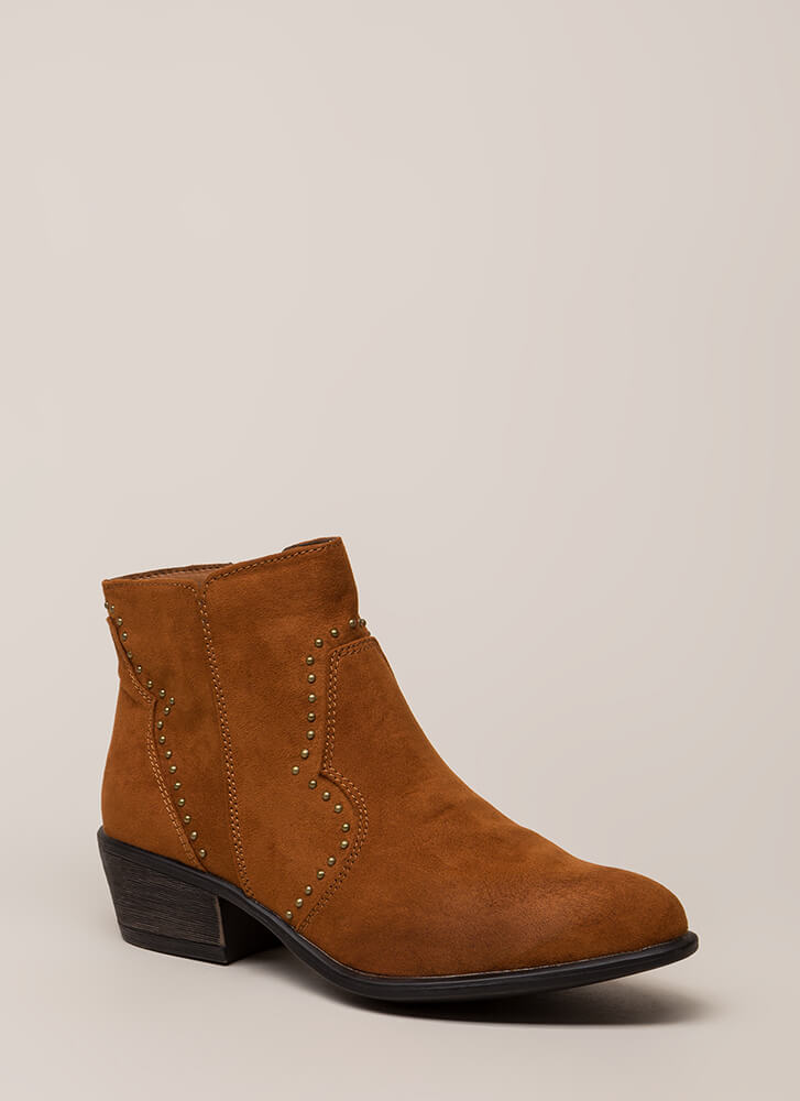 How The West Was Worn Studded Booties CHESTNUT