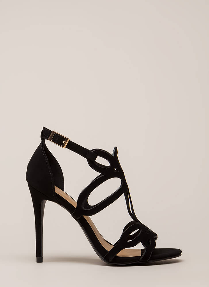 Loop-De-Loop Cut-Out Faux Nubuck Heels BLACK