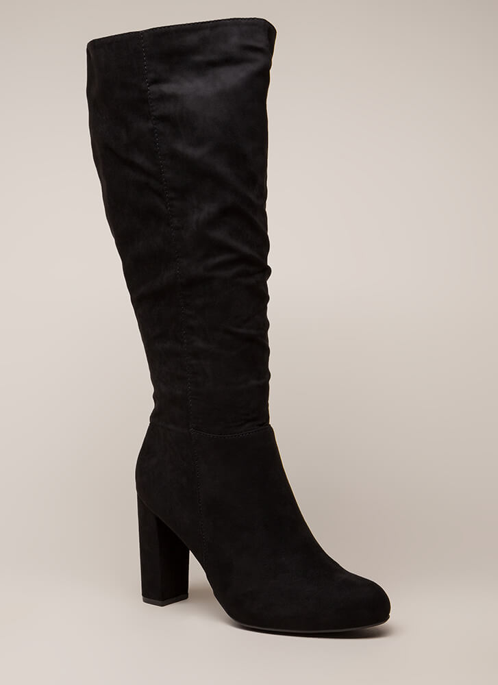 Living For These Slouchy Knee-High Boots BLACK