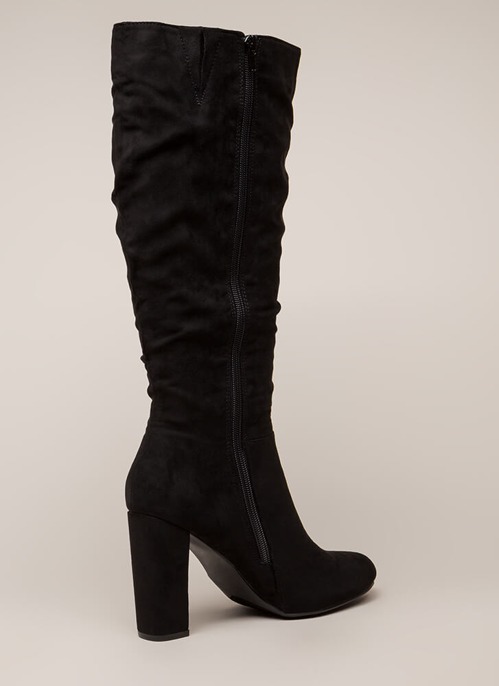 Living For These Slouchy Knee-High Boots BLACK (You Saved $34)