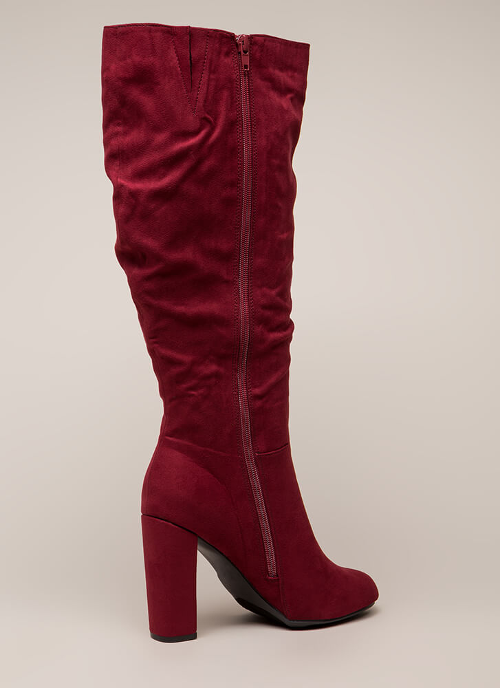Living For These Slouchy Knee-High Boots CRIMSON