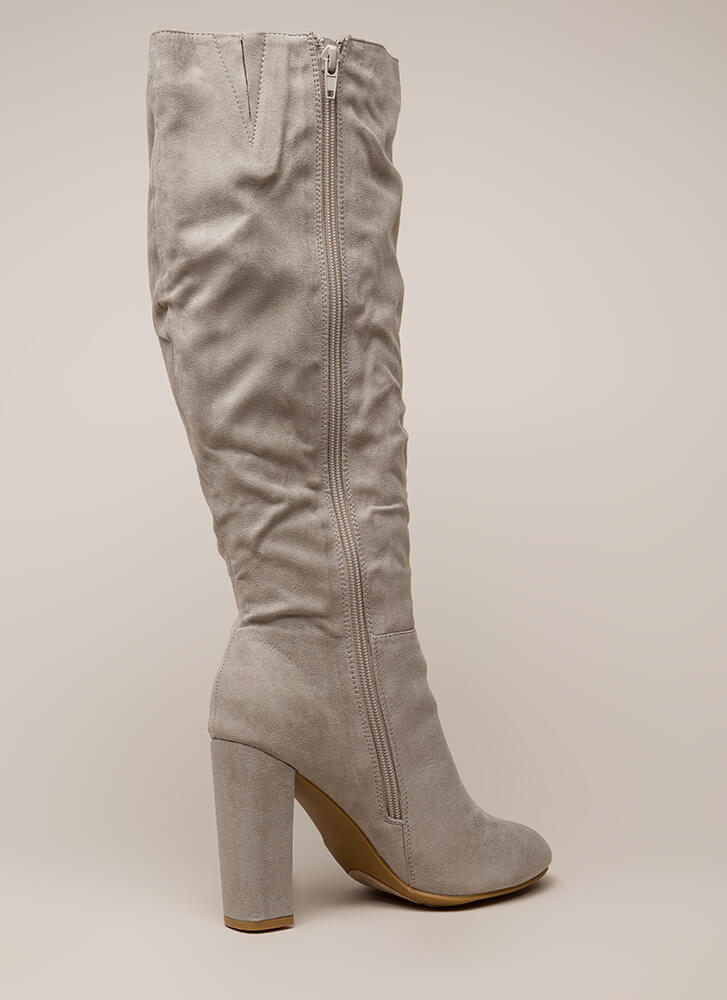 Living For These Slouchy Knee-High Boots LTGREY