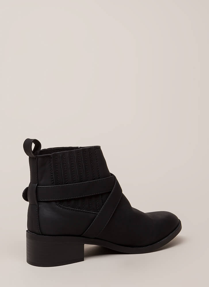 The Whole Gang Strappy Moto Booties BLACK (Final Sale)