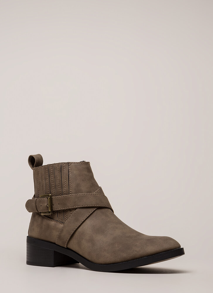 The Whole Gang Strappy Moto Booties TAUPE (Final Sale)