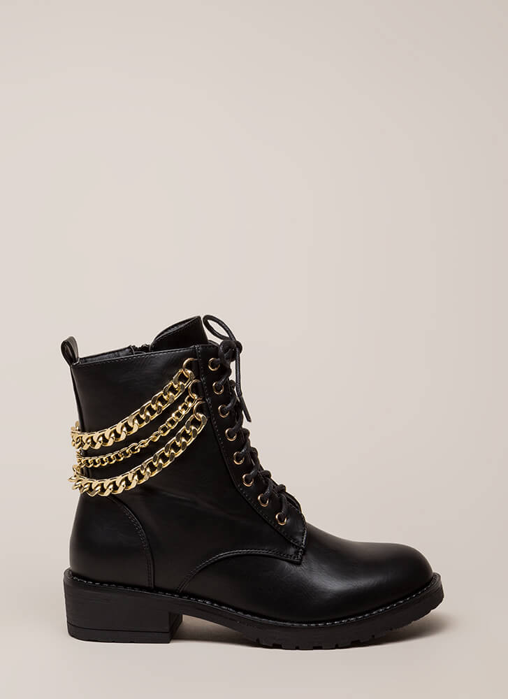 3 Chainz Faux Leather Combat Boots BLACK (You Saved $30)