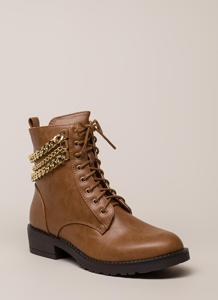 3 Chainz Faux Leather Combat Boots COGNAC (Final Sale)