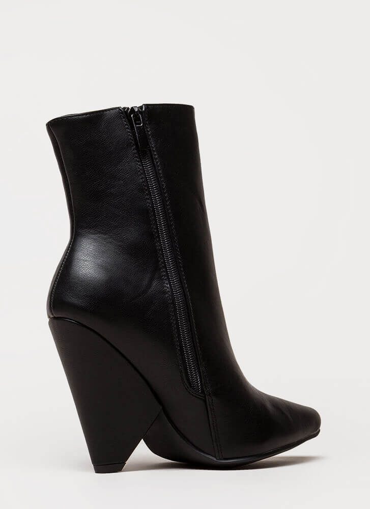 Fashionista Pointy Cone Heel Booties BLACK