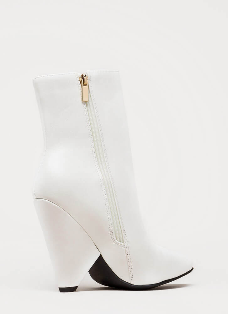 Fashionista Pointy Cone Heel Booties WHITE