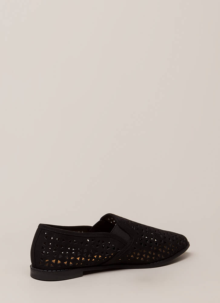 Eternal Triangle Latticed Cut-Out Flats BLACK
