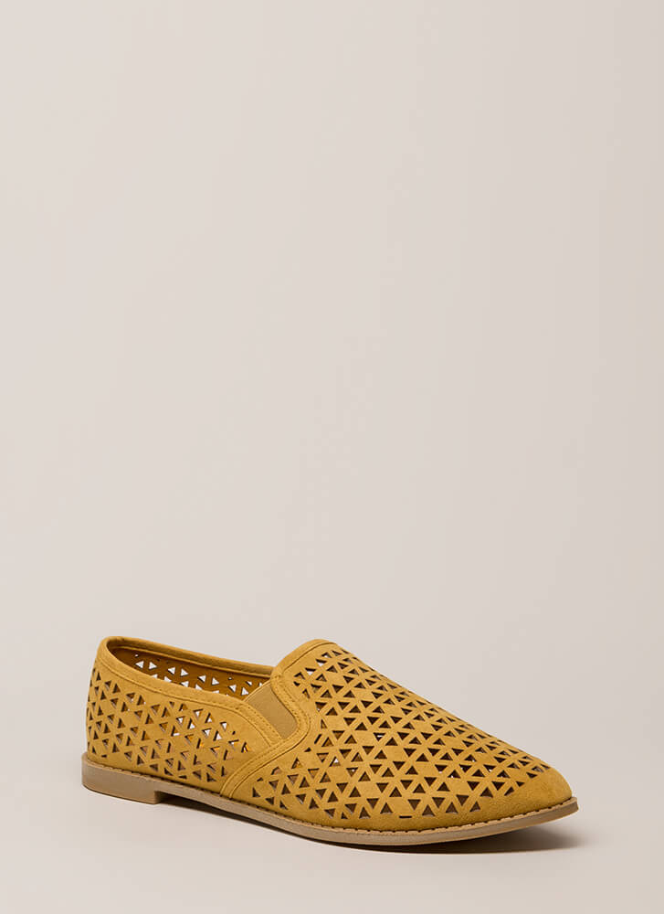 Eternal Triangle Latticed Cut-Out Flats MUSTARD